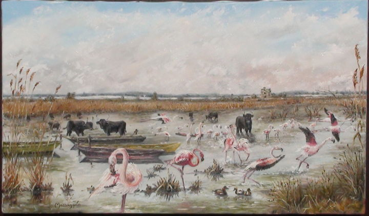 265-flamants-roses-8m.jpg - Painting,  27x46 cm ©2014 by ENIO -            Flamants roses, taureaux, Camargue