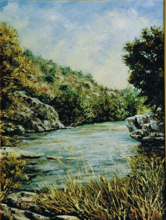 123-le-gardon-a-collias-12p.jpg - Painting,  61x46 cm ©2014 by ENIO -            Paysage de rivière