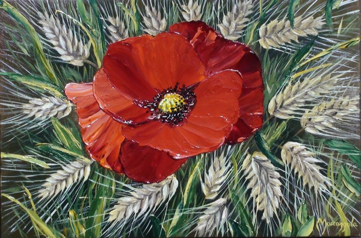 300-un-coquelicot.jpg - Painting,  16x24 cm ©2015 by ENIO -                                                            Figurative Art, Wood, Flower, COQUELICOT