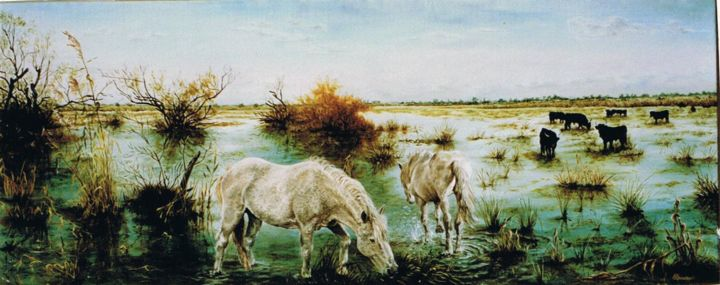 059-quietude-camarguaise-20p.jpg - Painting,  40x100 cm ©2015 by ENIO -                                                            Figurative Art, Canvas, Animals, CHEVAUX, TAUREAUX, CAMARGUE