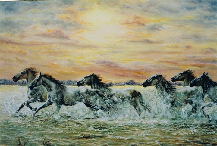 086-chevaux-en-camargue-25m.jpg - Painting,  54x81 cm ©2015 by ENIO -                                                            Figurative Art, Canvas, Animals, cHEVAUX, CAMARGUE