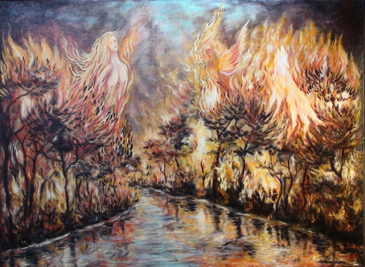 310-apocalypse-2.jpg - Painting,  60x73x3 cm ©2015 by ENIO -                                                            Surrealism, Canvas, Tree, incendie, forêt   écologie