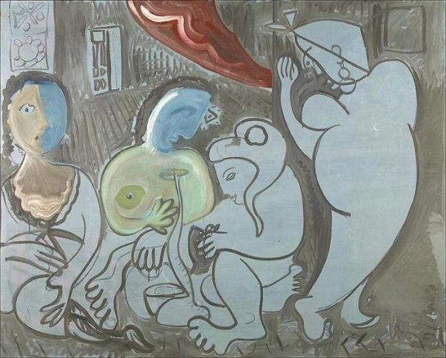 Dones d'Argel 24 - Painting,  130x161 cm ©1997 by Enric Santamaria Eulogio -            Mujeres reunidas