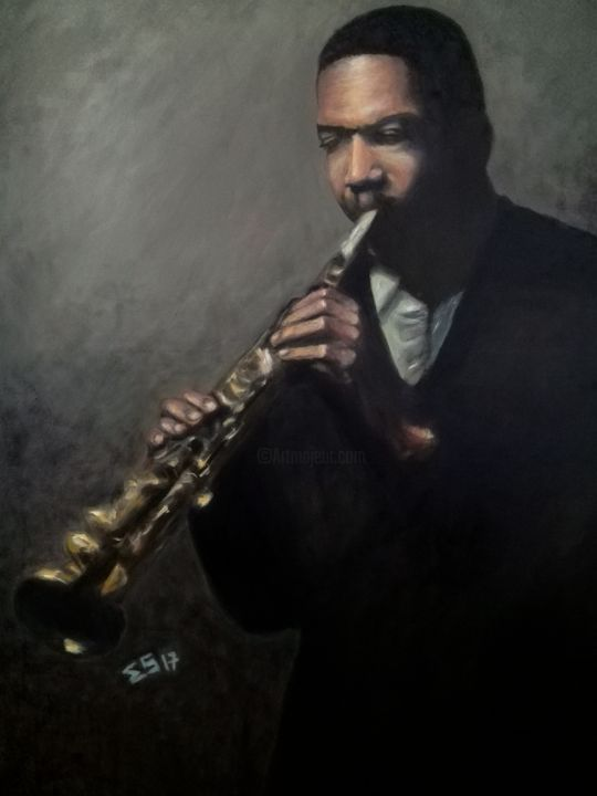 """Painting titled """"Jazz Man Coltrane"""" by Quits, Original Art, Oil"""