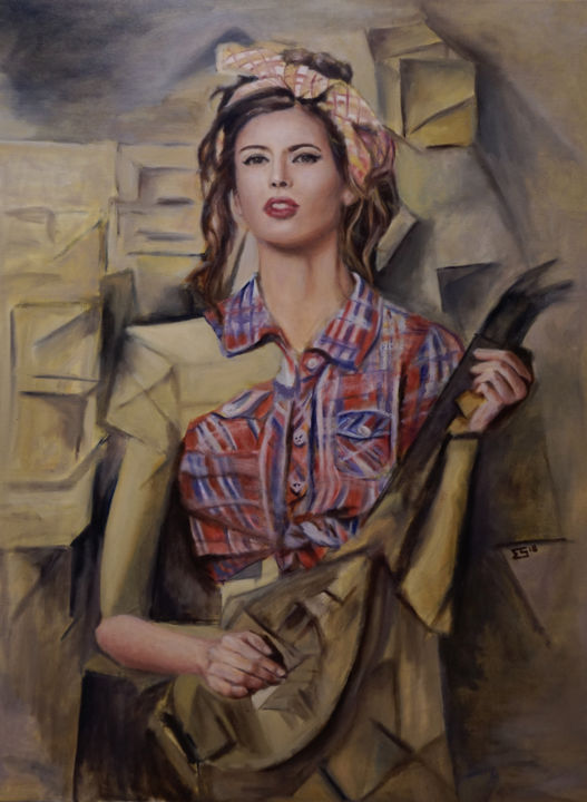 """Painting titled """"The Pinup Girl with…"""" by Quits, Original Art, Oil"""