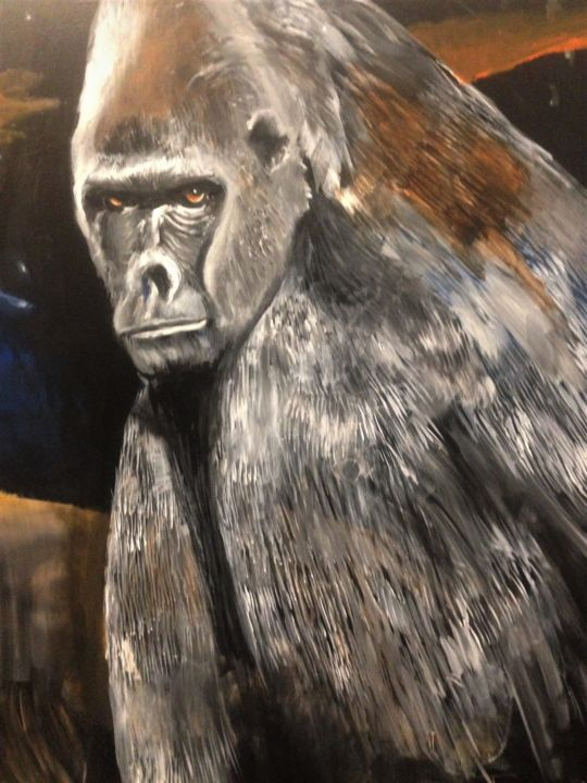 part-reno-and-the-ape-acrylic-painting-on-canvas.jpg - © 2018 monkey, lion Opere d'arte online