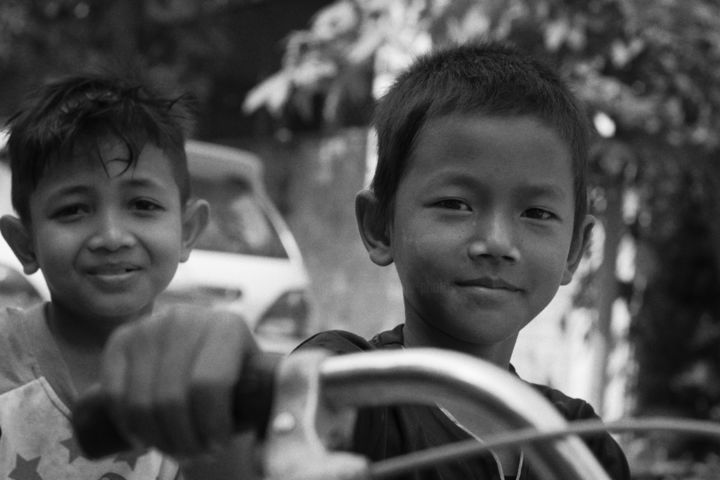 Bike Friend - Photography,  15.8x23.6 in, ©2020 by Epha Photos -                                                                                                                                                                                                                                              Asia, Kids, Family, Rural life, People