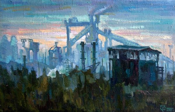 The technogenic sunrise - Painting,  62x40 cm ©2010 by Epimitreus -                            Abstract Expressionism, June, summer, morning, impressed, battery, coke plant, metallurgy, manufacturing, industrial landscape, sunrise