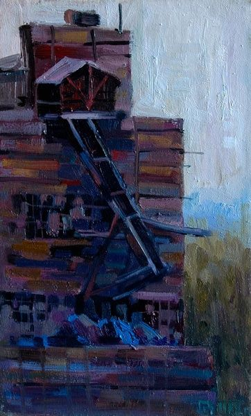 Part of the total - Painting,  35x22 cm ©2010 by Epimitreus -                            Abstract Expressionism, Cloudy, Fall, Factory, ore, the whole of the