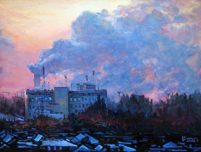 The skeleton of penetration - Painting,  80x100 cm ©2012 by Epimitreus -            winter, the plant, pipes, technogenic, industrial landscape, antennas, communications, factory smoke, the dawn, the penetration, the skeleton