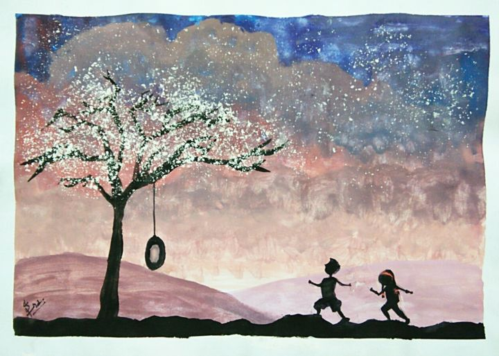 """Painting titled """"Galaxy of happiness"""" by Eqra Mughal, Original Art, Watercolor"""