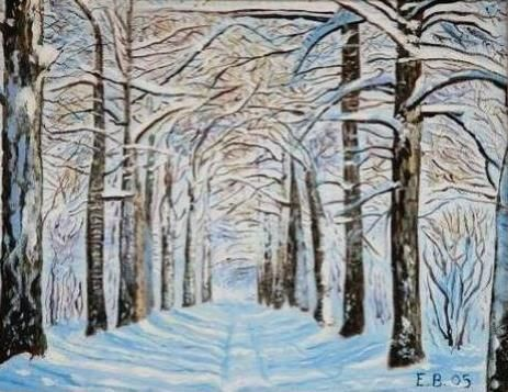 Dort Mevsim Kis Four Seasons Winter Painting By Erdal Bolukbasi