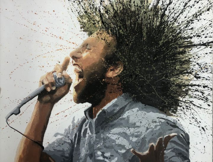 zack - Peinture,  23,6x31,5x0,8 in, ©2019 par Erdna Andre -                                                                                                                                                                                                      Culture populaire / célébrité, zach de la rocha, rage against the machine, portrait