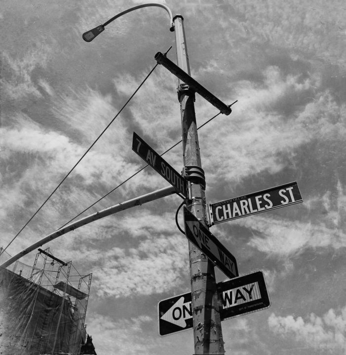New-York 39 - Photography,  11.8x11.8x0.4 in, ©2017 by Eric Chauvet - Photographies New-York -                                                                                                                                                                                                                                                                                                                                                                                                                                                                                                                                                                                                                                                                                                                                                                                                                      Street Art, street-art-624, Architecture, Black and White, Cityscape, NY, New-York, Carrefour, Pylônes, Signalisation, Villes, manhattan, Photographie, Urbain, Rue, PhotographyCultureArt, Eric Chauvet