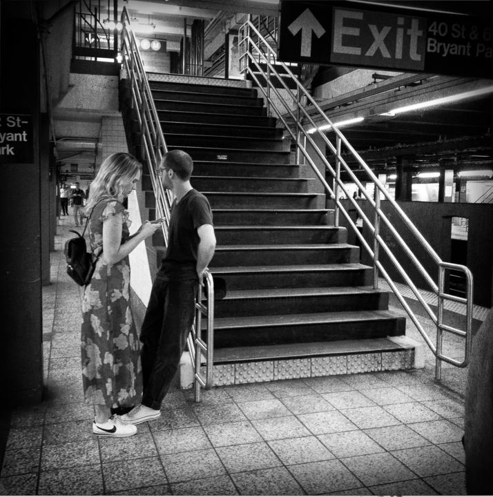 New-York 82 - Photography,  11.8x11.8x0.4 in, ©2017 by Eric Chauvet - Photographies New-York -                                                                                                                                                                                                                                                                                                                                                                                                                                                                                                                                                                                                                                                                                                                                                                                                                                                                  Street Art, street-art-624, Black and White, Cityscape, People, Portraits, Cities, NY, New-York, Metro, Subway, Noir et Blanc, Photographie, femme, Homme, Escalier, PhotographyCultureArt, Eric Chauvet