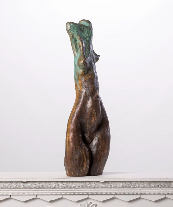 Expressionist Torso III - Sculpture,  20.5x7.1x5.5 in, ©2017 by Eric Doireau -                                                                                                                                                                                                                                                                                                                      Expressionism, expressionism-591, Bronze, Women, Expressionist, sculpture