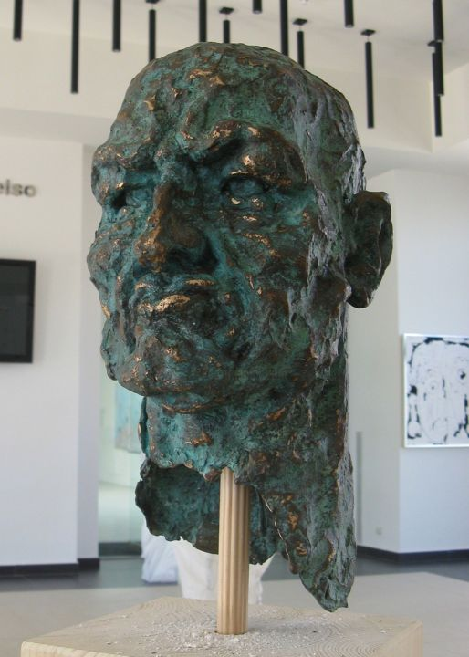 Mask of power - Sculpture,  14.2x7.9x9.1 in, ©2015 by Eric Doireau -                                                                                                                                                                                                                                                                                                                      Expressionism, expressionism-591, Bronze, Men, sculpture, expressionist