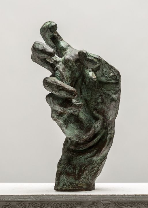 Expressionist hand - Sculpture,  27x12x14 cm ©2015 by Eric Doireau -                                                            Expressionism, Bronze, Body, Expressionist, hand