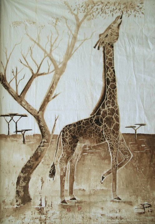 girafe-314 x 215 - Painting,  123.6x84.7 in, ©2017 by ÉRIC PLATEAU -                                                                                                                                                                                                                                                                          Figurative, figurative-594, Other, Animals, Girafe