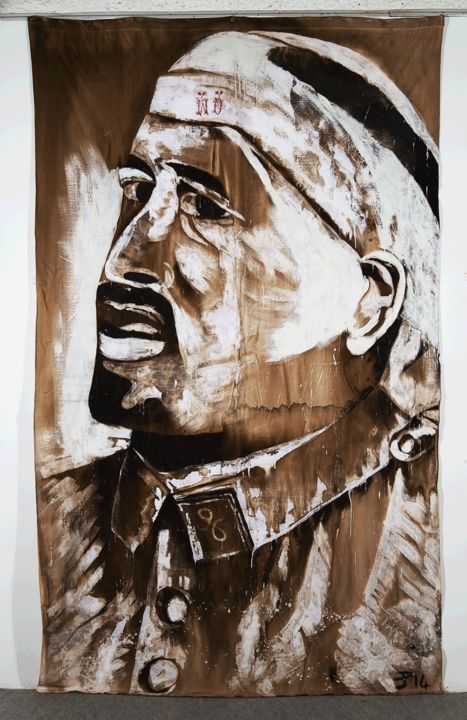 18-Guillaume Apollinaire blessé - Painting,  137.8x78.7 in, ©2014 by ÉRIC PLATEAU -                                                                                                                                                                                                                                                                                                                                          History, People, Portraits, Grande Guerre, 14 18, Guillaume Apollinaire, Poilu