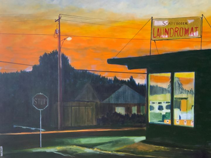 Laundromat - Painting,  23.6x31.5x0.8 in, ©2018 by Eric Stephan -                                                                                                                                                                                                                                                                      Figurative, figurative-594, Cityscape, night, laundromat