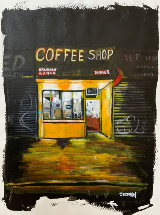 """Painting titled """"Coffee shop"""" by Eric Stephan, Original Art, Acrylic"""