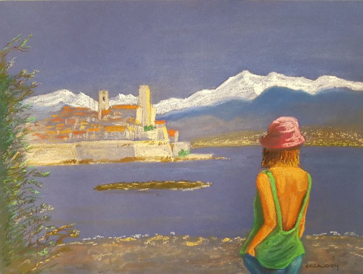 """Drawing titled """"Le vieil Antibes"""" by Eric Audry, Original Art, Pastel"""
