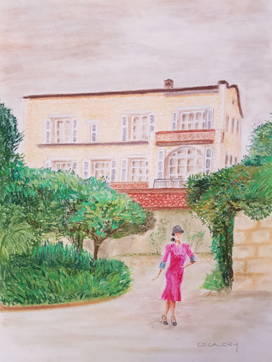 """Drawing titled """"Les Collettes - mai…"""" by Eric Audry, Original Art, Pastel"""