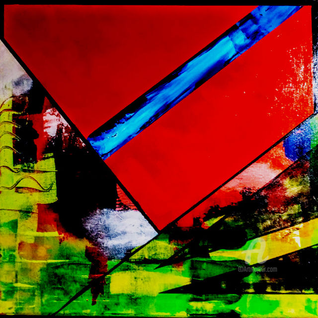 Red flag - Painting,  19.7x19.7x1 in, ©2019 by eric daude -                                                                                                                                                                          Abstract, abstract-570, Abstract Art