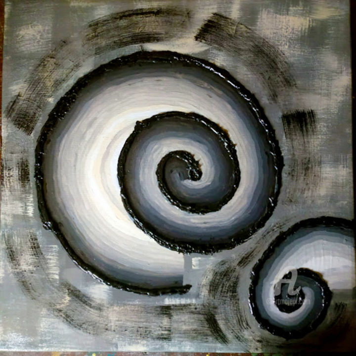Spiraliptic - Painting,  19.7x19.7x0.8 in, ©2020 by eric daude -                                                                                                                          Abstract, abstract-570