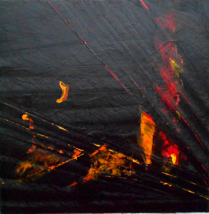 rouge-noir-2018-2.jpg - Painting,  31.5x31.5 in, ©2018 by De -                                                                                                                                                                                                                          Abstract, abstract-570, Abstract Art, noir eric