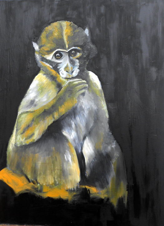 reflechi.jpg - Painting,  31.5x23.6 in, ©2019 by De -                                                                                                                                                                                                                          Figurative, figurative-594, Animals, SINGE
