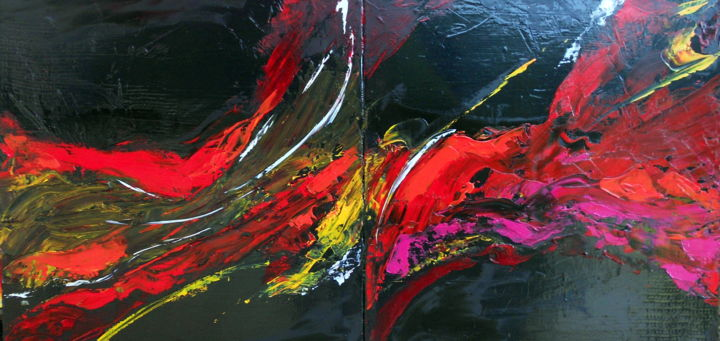 abstrac lyrique 10 - Painting,  23.6x47.2x0.8 in, ©2020 by De -                                                                                                                                                                                                                          Abstract, abstract-570, Abstract Art, couleur