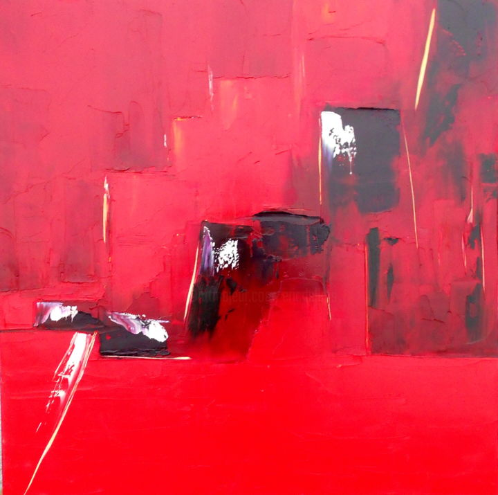 etude-rouge-1.jpg - Painting,  31.5x31.5x0.4 in, ©2014 by De -                                                                                                                                                                          Abstract, abstract-570, Cities
