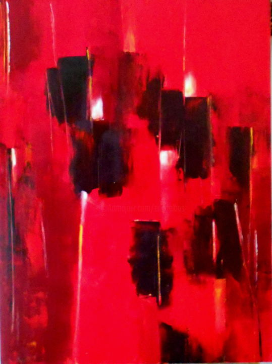 etude-rouge-5.jpg - Painting,  31.5x23.6x0.4 in, ©2014 by De -                                                                                                                          Abstract, abstract-570