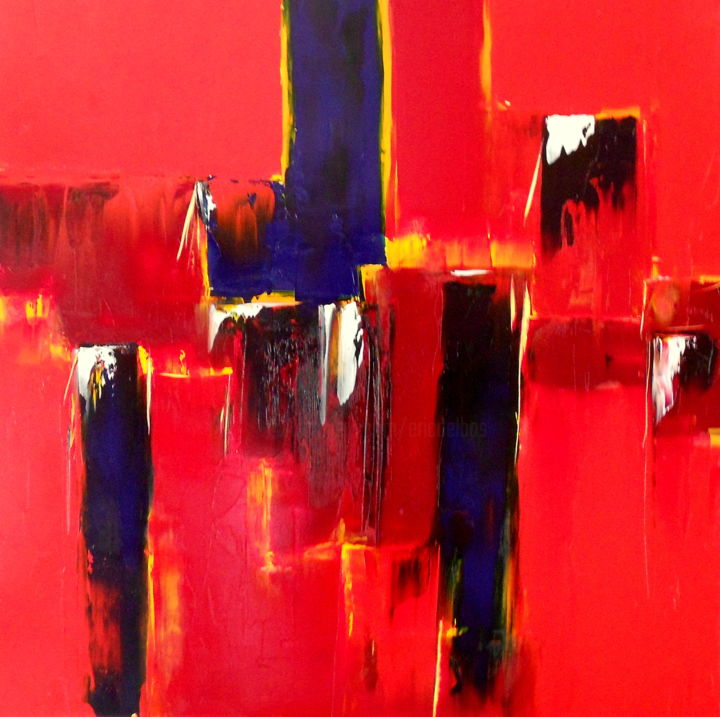 etude-rouge-10.jpg - Painting,  31.5x31.5 in, ©2015 by De -                                                                                                                                                                          Abstract, abstract-570, rouge