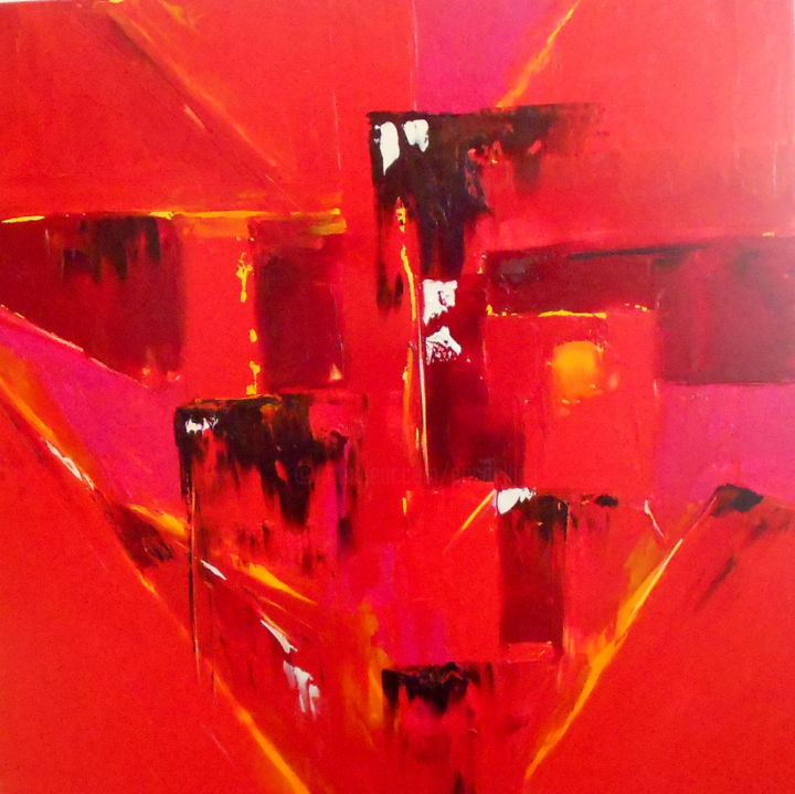etude-rouge-13-2016.jpg - Painting,  31.5x31.5x0.4 in, ©2016 by De -                                                                                                                                                                                                                          Abstract, abstract-570, Landscape, DE