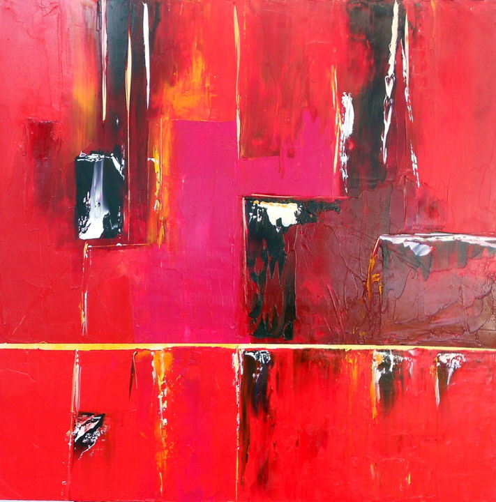 etude-rouge-17-2016.jpg - Painting,  31.5x3.2 in, ©2016 by De -                                                                                                                                                                                                                          Abstract, abstract-570, Architecture, ericdelbos