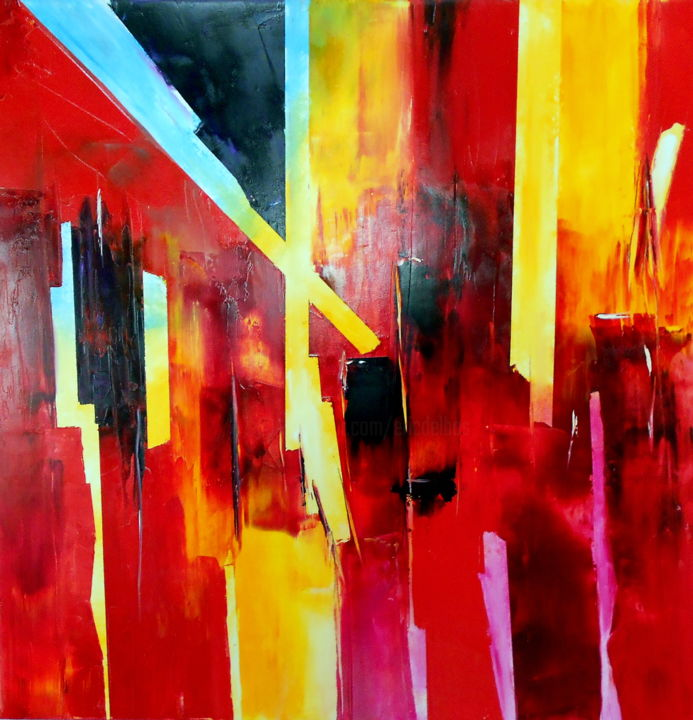 rouge-aout-2-2016.jpg - Painting,  31.5x31.5 in, ©2016 by De -                                                                                                                                                                                                                          Abstract, abstract-570, Places, DE