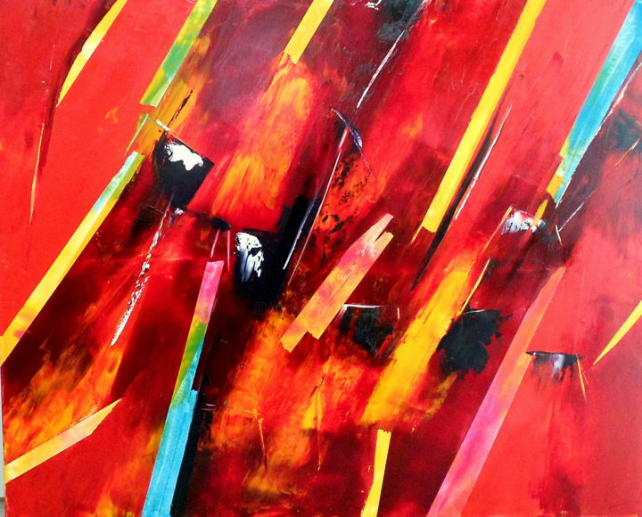 rouge-aout-2016.jpg - Painting,  31.5x39.4x0.4 in, ©2016 by De -                                                                                                                                                                                                                          Abstract, abstract-570, Places, DE