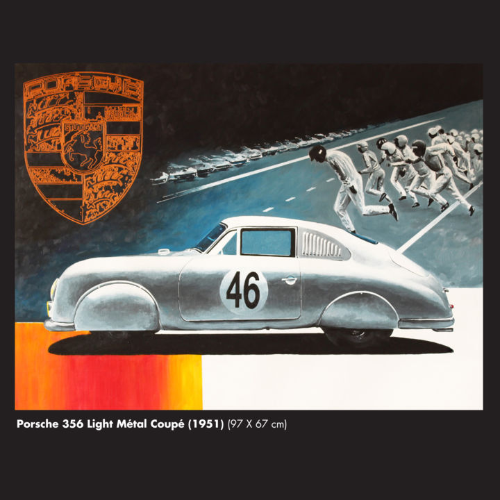 Porsche 356 Light Métal Coupé 1951 - Painting,  38.2x38.2x0.4 in, ©2108 by Eric Hardy -                                                                                                                          Figurative, figurative-594
