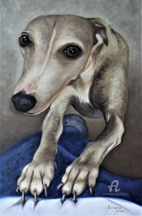 Trixie asking attencion. - Painting,  60x40x3 cm ©2014 by Ericson -                        Animals