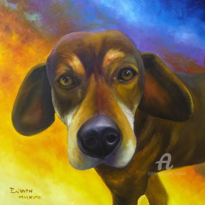 Coroa, the old hunting dog. - Painting,  40x40x3 cm ©2018 by Ericson -                        Animals