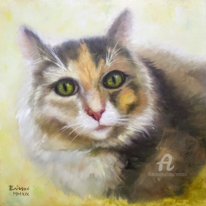 Eva, the original cat. - Painting,  15.8x15.8x1.2 in ©2019 by Ericson -                        Animals