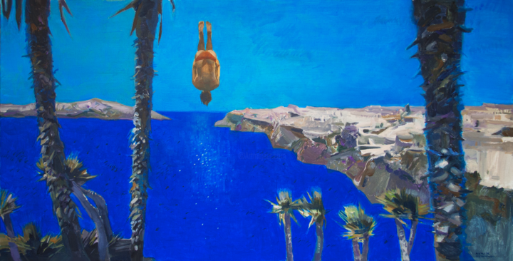 Free Fall - Pittura,  50x100x3 cm ©2017 da Natalia Ostapenko -                                                            Realismo, Tela, Viaggio, sea, ocean, palms, palmtree, coast, holidays, vacations, man, woman, diver, diving, jump, water, sun, summer
