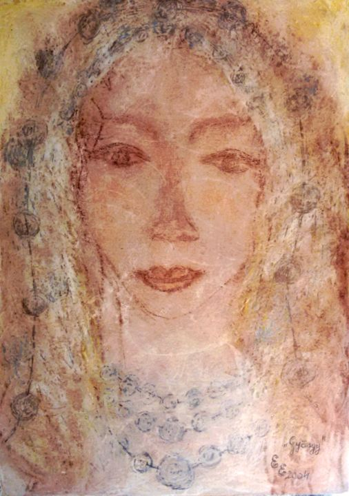 Pearl - Drawing,  13.8x9.8 in, ©2004 by Erzsébet Engi -                                                                                                                                                                                                                                                                                                                                                                                                                                                                                                                                                                                                                                                                                                                                                                                                                                                                                                                                                                                  Colors, Culture, Education, Fairytales, Family, woman, portrait, pearl, hair, necklace, blonde hair, jewellery, yellow, seasons, home, dress, veil, pretty, ypung, beautiful, life