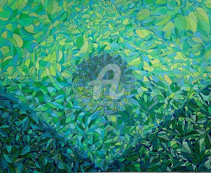 FEUILLAGES - Painting,  28.7x36.2x0.8 in, ©2015 by ESMERI -                                                                                                                                                                                                                                                                                                                                                                                      Nature, Feuillage, feuilles, vert, nature, esmeri, peinture, acrylique