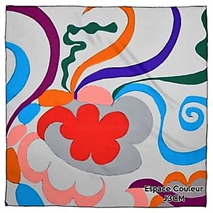 FOULARD SOURIRE - Design,  35.4x35.4 in, ©2019 by J3CM (Carine)  / Cédric Fresquet -                                                                                                                                                                                                                          Abstract, abstract-570, Fabric, FOULARD