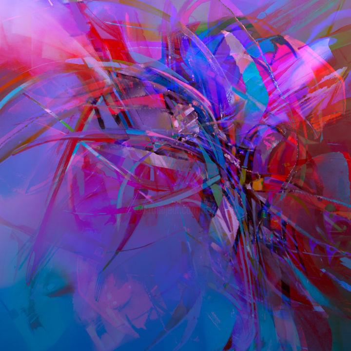 """Digital Arts titled """"Partition N°1"""" by Gérard Esquerre, Original Art, Digital Painting Mounted on Stretcher frame"""