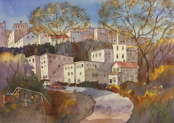 """Painting titled """"Houses On The Hill—…"""" by Emily Stedman, Original Art, Watercolor"""